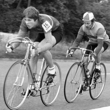 clarencourt cycling club over the hill gang. members ev and mick racing